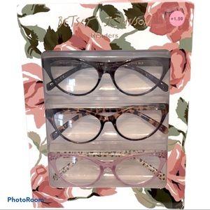 NEW! 3 Pair BETSEY JOHNSON Cat Eye Readers +1.50